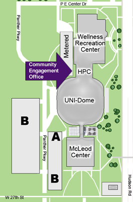 Map showing location of the Community Engagement Office at the UNI Human Performance Center