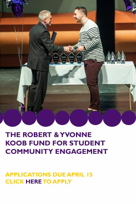 The Robert & Yvonne Koob fund for student community engagement. Applications due april 15. Click here (https://bit.ly/2X1ZqXF) to apply.