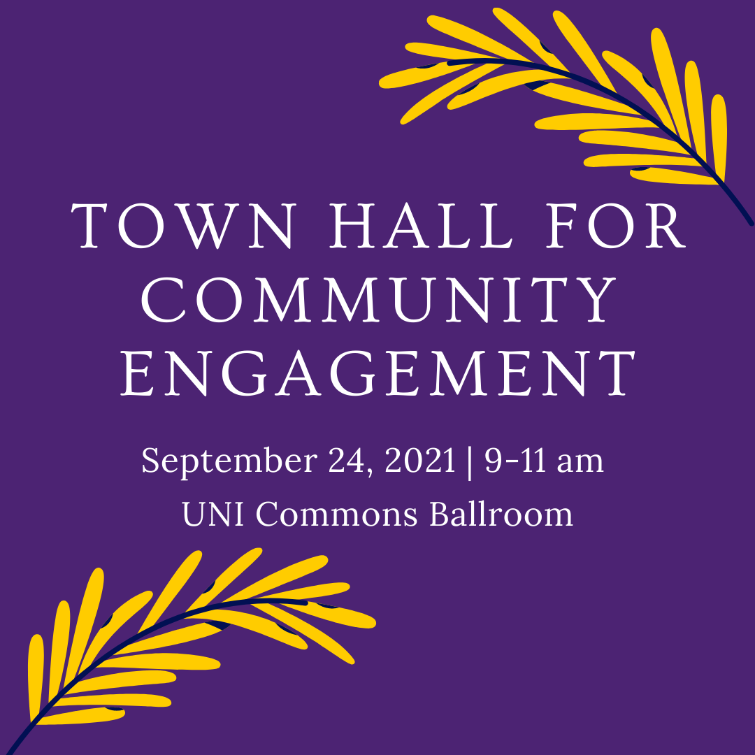 Town Hall for Community Engagement typed in white on a purple background