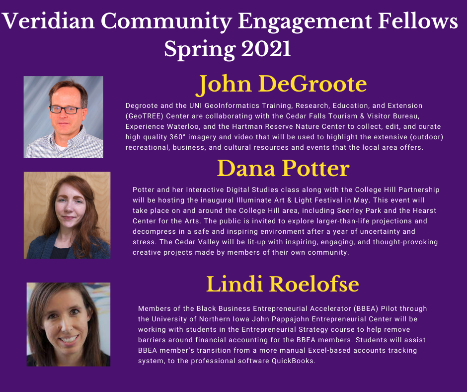 List of Veridian Fellowship Recipients from Spring 2021